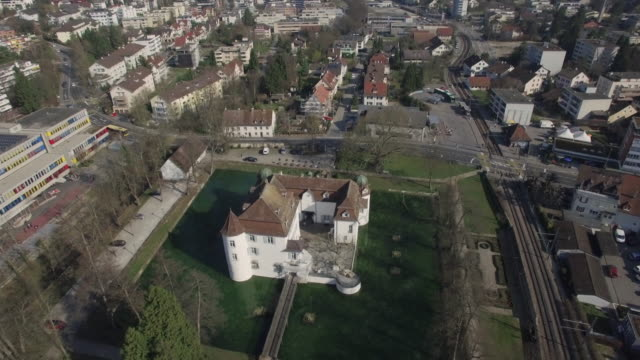 hyper lapse aerial shot ancient water castle - zeitraffer stock videos & royalty-free footage