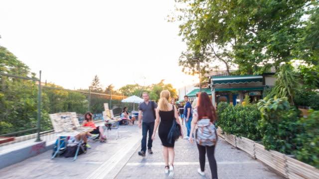 hyper lapse along monastiraki promenade - acropolis athens stock videos and b-roll footage