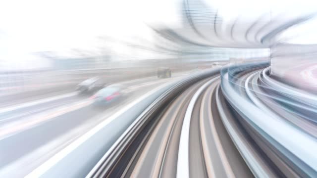 4k hyper lapse: automatic train at tokyo, japan - monorail stock videos & royalty-free footage