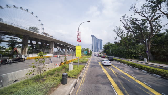 4K hyper lapse Bus experience along the road to marina bay during day time Singapore