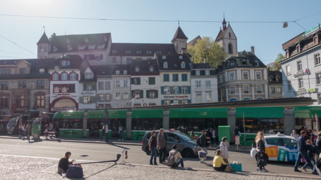 Hyper Lapse dolly shot houses, trams and people enjoying spring