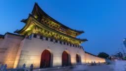 Hyper lapse Gyeongbokgung palace in Seoul,South Korea.