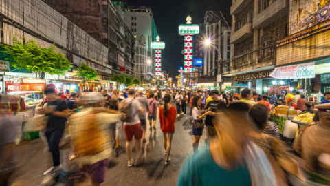 hyper lapse of bangkok chinatown at night time, thailand - bangkok stock videos & royalty-free footage