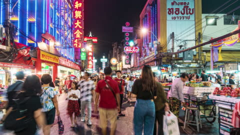 hyper lapse of bangkok chinatown at night time, thailand - hyper lapse stock videos & royalty-free footage