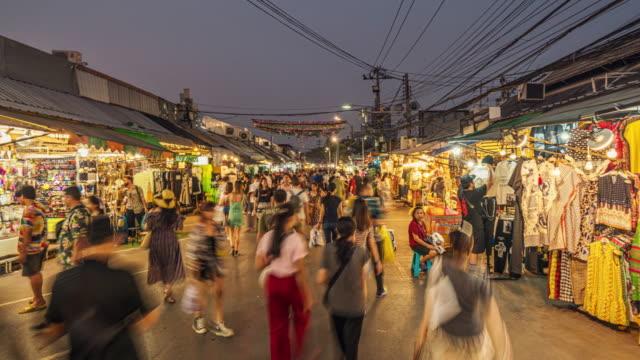 hyper lapse of chatuchak weekend market in bangkok - bangkok stock videos & royalty-free footage