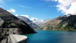 Hyper lapse of Kolnbrein Dam and Kolnbreinspeicher lake in Carinthia, Austria.