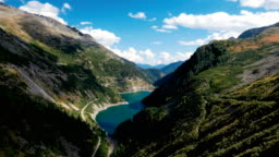 Hyper lapse of mountain lake Galgenbichlspeicher near Kolnbrein Dam in Carinthia, Austria.