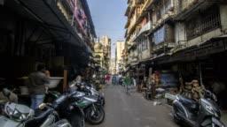 Hyper lapse of small lane in a old part of the Mumbai city called Chor Bazaar (Shor Bazaar)