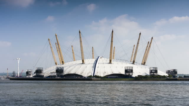 london - circa 2012: hyper lapse of the o2 arena and river of london - dome stock videos & royalty-free footage