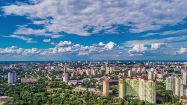 hyper lapse panoramic aerial view of cityscape under cloud-sky - ukraine stock videos & royalty-free footage