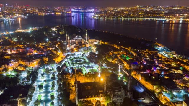 vidéos et rushes de hyper lapse vue panoramique hagia sophia à istanbul city ,turquie - turquie