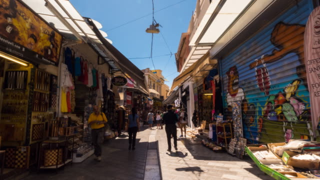 hyper lapse through monastiraki flea market - athens greece stock videos and b-roll footage