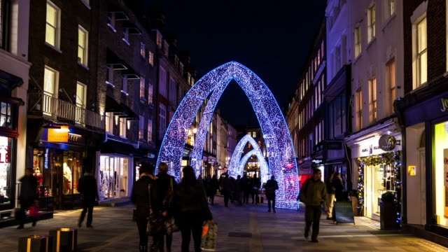 LONDON - CIRCA 2012:  Hyper Lapse - Time Lapse of Christmas decoration at South Molton Street in London circa 2012.