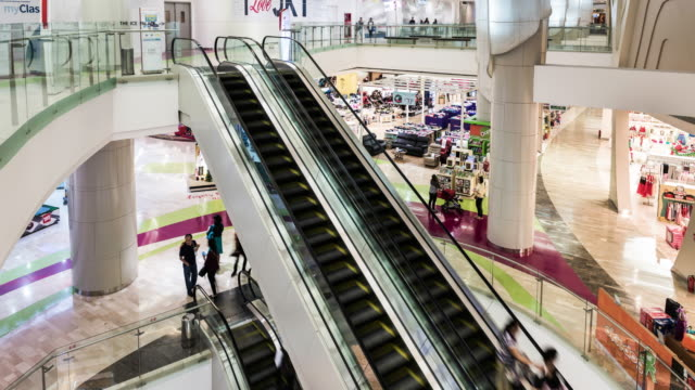 hyper lapse time lapse of interior of ciputra world shopping mall