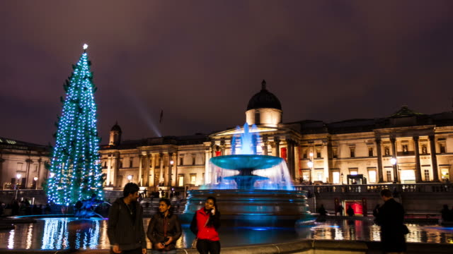 LONDON CIRCA 2012:  Hyper Lapse - Time lapse of Trafalgar Square in motion during christmas time, in London