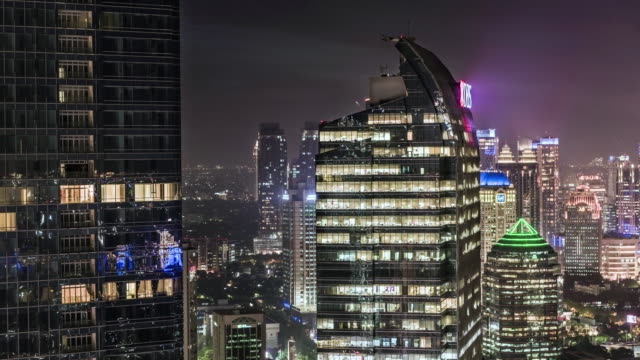 hyper lapse timelapse of jakarta skyline down to an office building - heranzoomen stock-videos und b-roll-filmmaterial