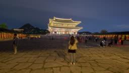 Hyper lapse Tourists visiting Gyeongbokgung Palace in Seoul City,South Korea