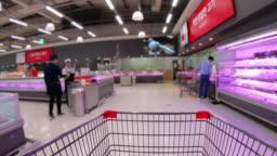 Hyper lapse,Shopping cart in supermarket ,Korea