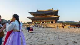 Hyper Timelapse of Gyeongbokgung Palace in Seoul City,South Korea