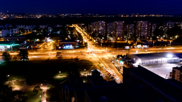 hyper zoom of belgrade serbia by night - belgrade serbia stock videos and b-roll footage