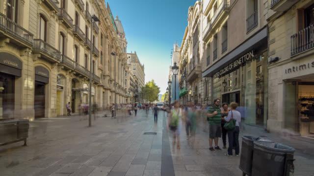 Hyperlapse across the d'Angel street with people traffic in Barcelona, Spain.
