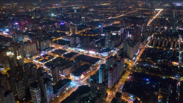 hyperlapse aerial view cityscape - street light stock videos & royalty-free footage