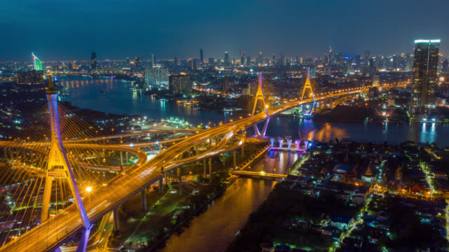 hyperlapse aerial view of bhumibol suspension bridge at night - suspension bridge stock videos & royalty-free footage