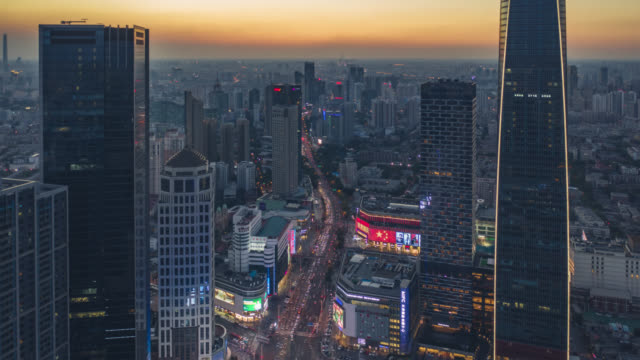 Hyperlapse aerial view of business district