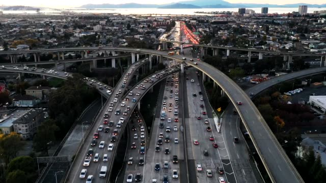 hyperlapse, aerial view of busy city freeway - traffic time lapse stock videos & royalty-free footage