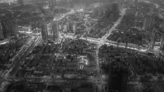 hyperlapse aerial view of city - black and white stock videos & royalty-free footage