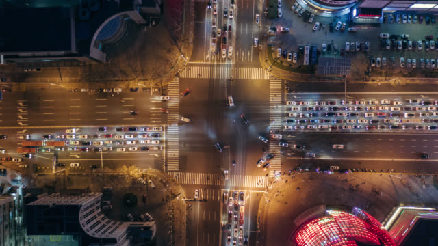 hyperlapse aerial view of crossing - busy stock videos & royalty-free footage