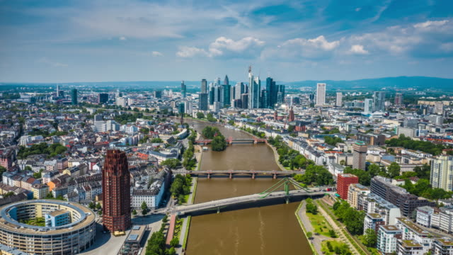 hyperlapse: aerial view of frankfurt - germany, hesse - germany stock videos & royalty-free footage