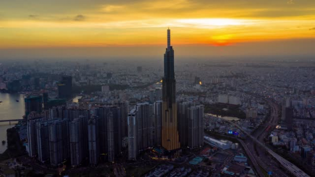 hyperlapse aerial view of ho chi minh city skyline in vietnam - ho chi minh city stock videos & royalty-free footage