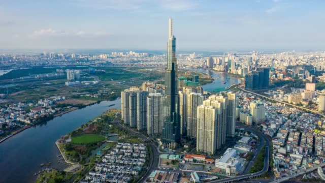 hyperlapse aerial view of ho chi minh city skyline in vietnam - day stock videos & royalty-free footage