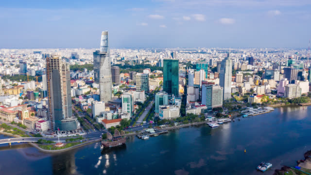 hyperlapse aerial view of ho chi minh city skyline in vietnam - vietnam stock videos & royalty-free footage