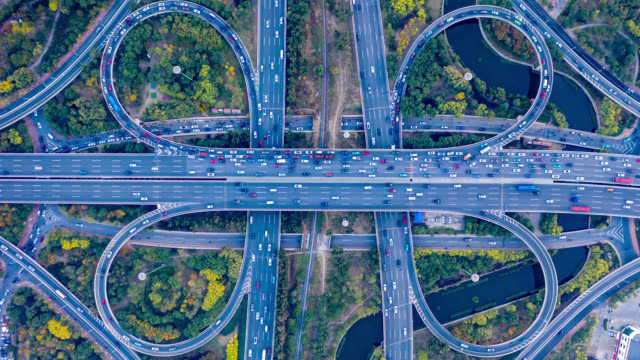 hyperlapse aerial view of overpass - highway stock videos & royalty-free footage