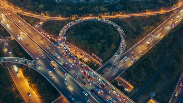 hyperlapse aerial view of overpass - liyao xie stock videos & royalty-free footage