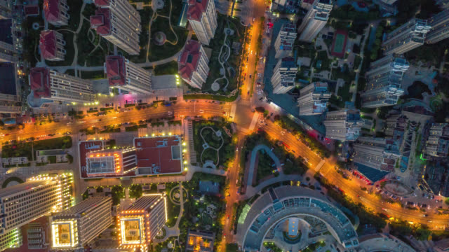 hyperlapse aerial view of road intersection - beijing stock videos & royalty-free footage