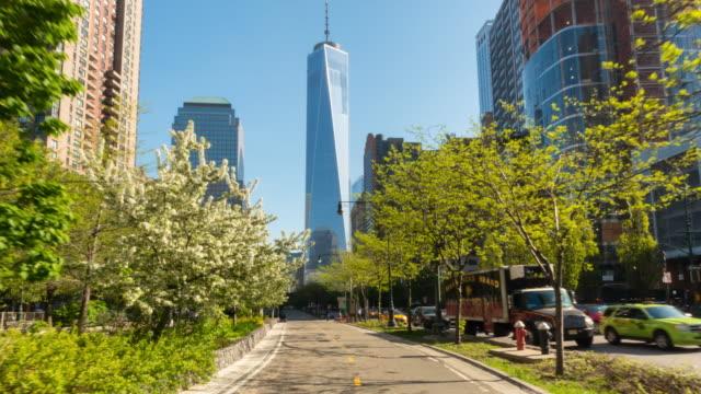 Hyperlapse along bike lane towards One World Trade Center, POV