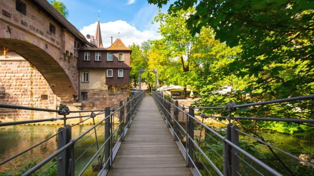 hyperlapse along kettensteg in nuremberg´s old town - walking point of view stock videos and b-roll footage