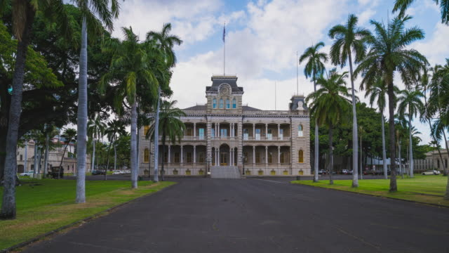 hyperlapse at iolani palace in honolulu, oahu, hawaii - oahu stock videos and b-roll footage