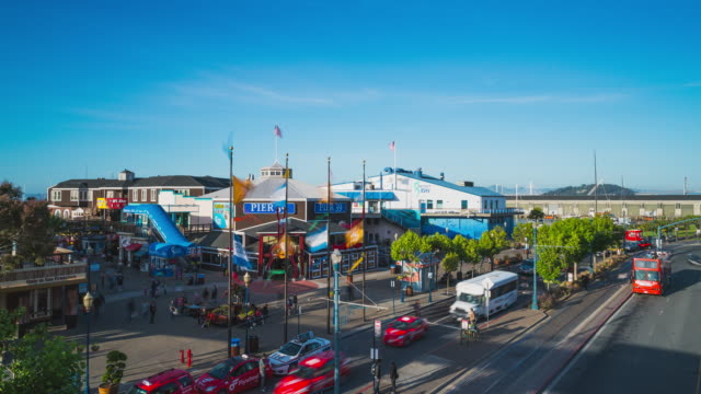 stockvideo's en b-roll-footage met hyperlapse at pier 39 in san francisco - pier 39