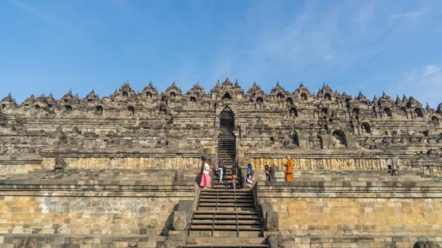 vídeos y material grabado en eventos de stock de hyperlapse - templo de budista de mahayana borobudur en java en indonesia - java