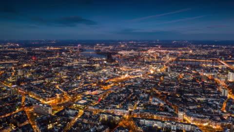 hyperlapse : cologne cityscape at dusk - street light stock videos & royalty-free footage