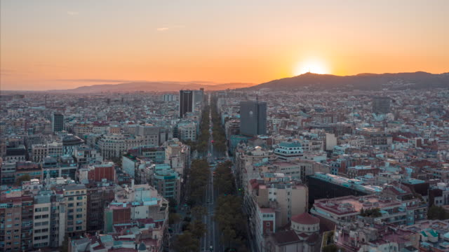 hyperlapse drone 4k video of barcelona cityscape and sagrada fimiliar - barcelona spain stock videos & royalty-free footage