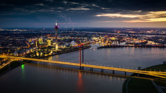 hyperlapse: düsseldorf citycape, germany - aerial - germany stock videos & royalty-free footage