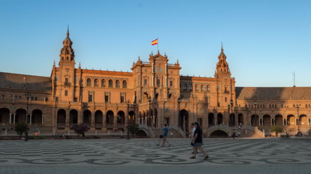 Hyperlapse España Platz in Sevilla Sonnenuntergang