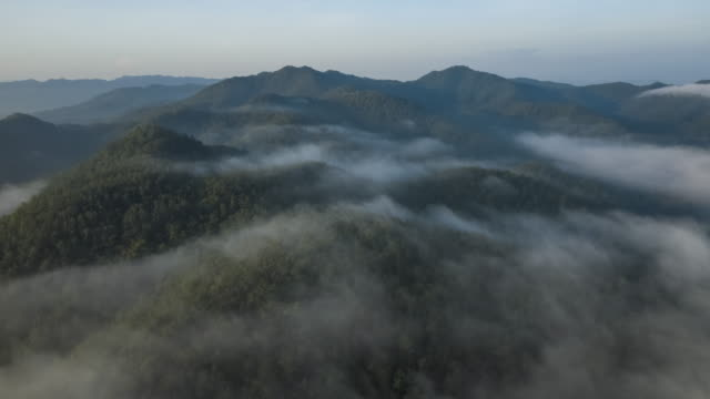 hyperlapse fog flowing covering mountain aerial view - fog stock videos & royalty-free footage
