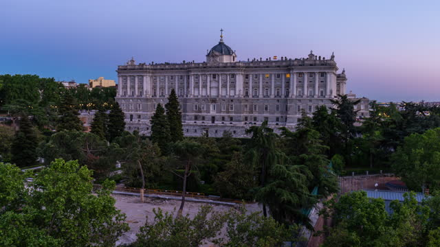 hyperlapse from day to night of the royal palace in madrid - palace stock videos & royalty-free footage