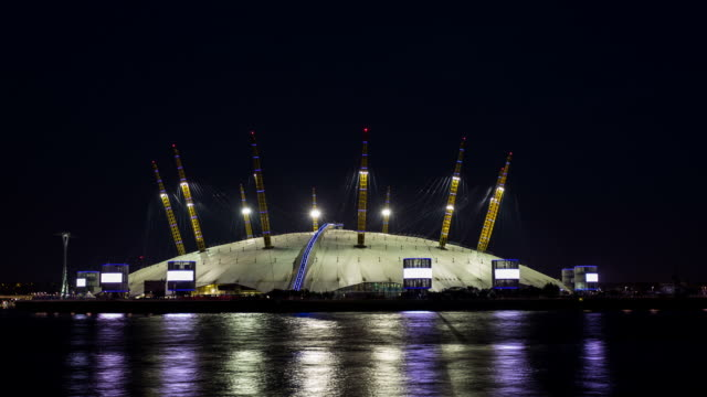 london - circa 2013: hyperlapse, hyper lapse, time lapse o2 arena by night  - the o2 england stock videos & royalty-free footage